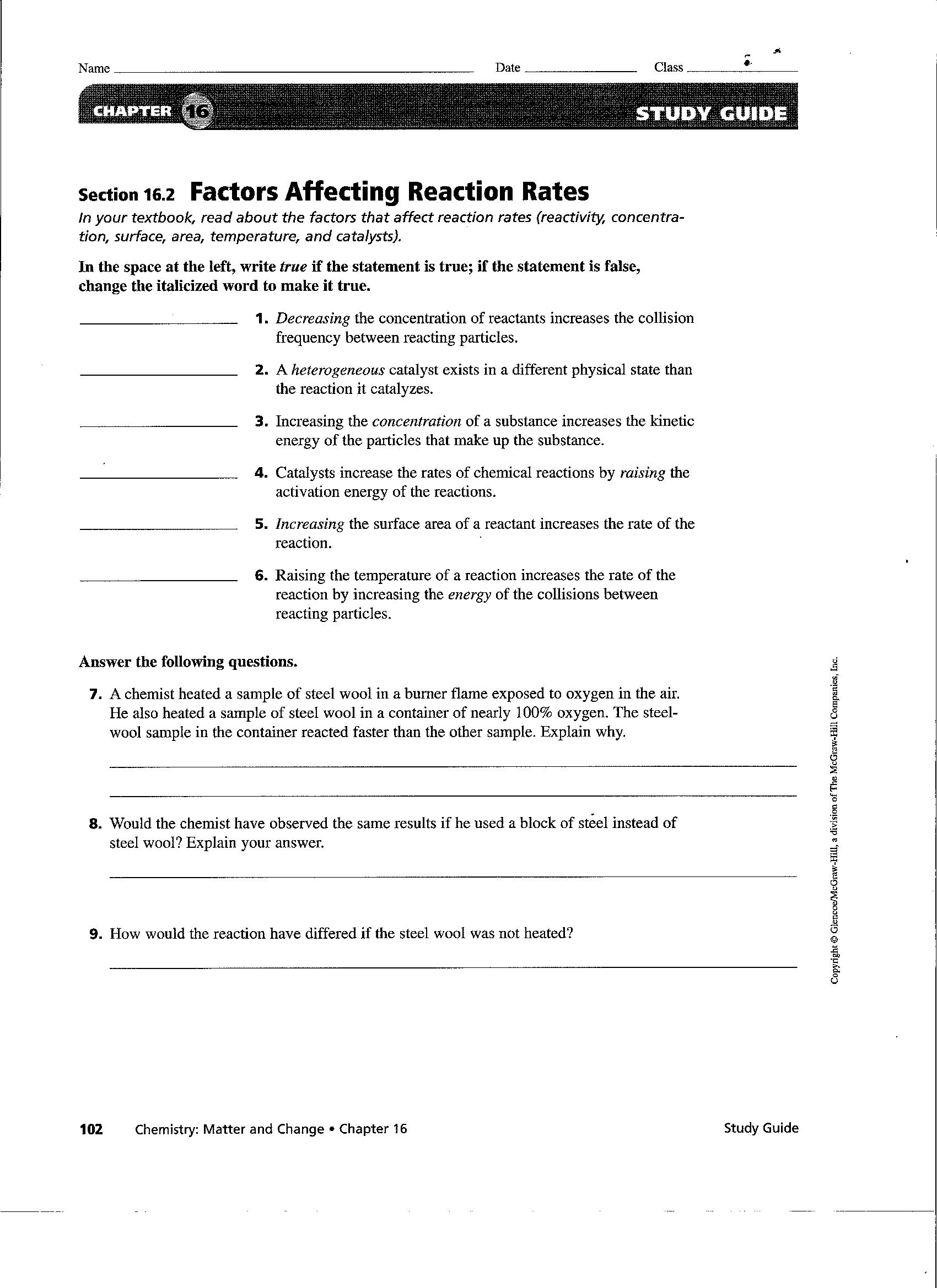 Worksheets Reaction Rates Worksheet general chemistry nancy brim