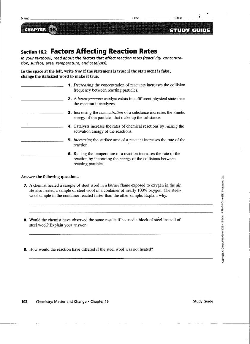 General Chemistry Nancy Brim – Predicting Products of Chemical Reactions Worksheet Answers
